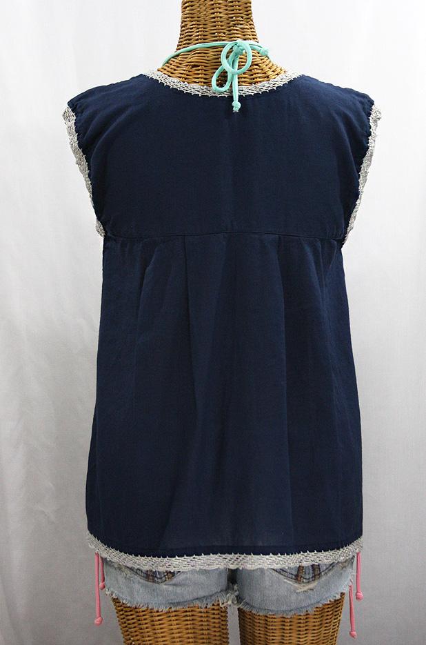 "Final Sale 40% Off -- ""La Marbrisa"" Sleeveless Mexican Blouse -Navy Blue + Grey"