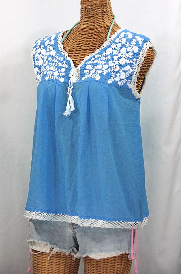 """La Marbrisa"" Sleeveless Mexican Blouse -Light Blue + White Embroidery"