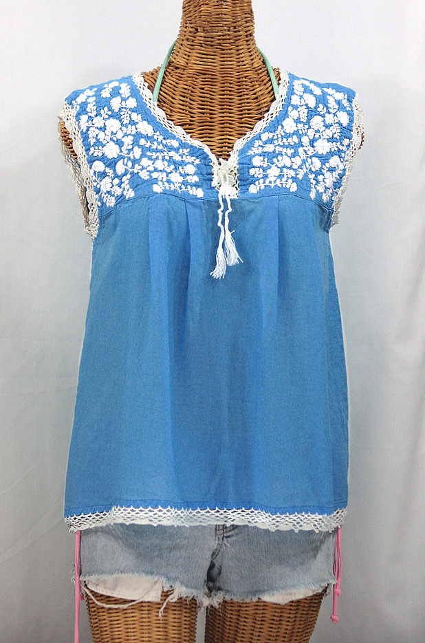 """La Marbrisa"" Sleeveless Mexican Blouse -Light Blue + White Embroidery"