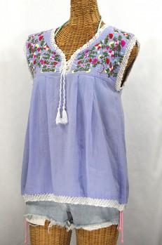 """""""La Marbrisa"""" Embroidered Sleeveless Peasant Blouse Top -Periwinkle + Multi"""