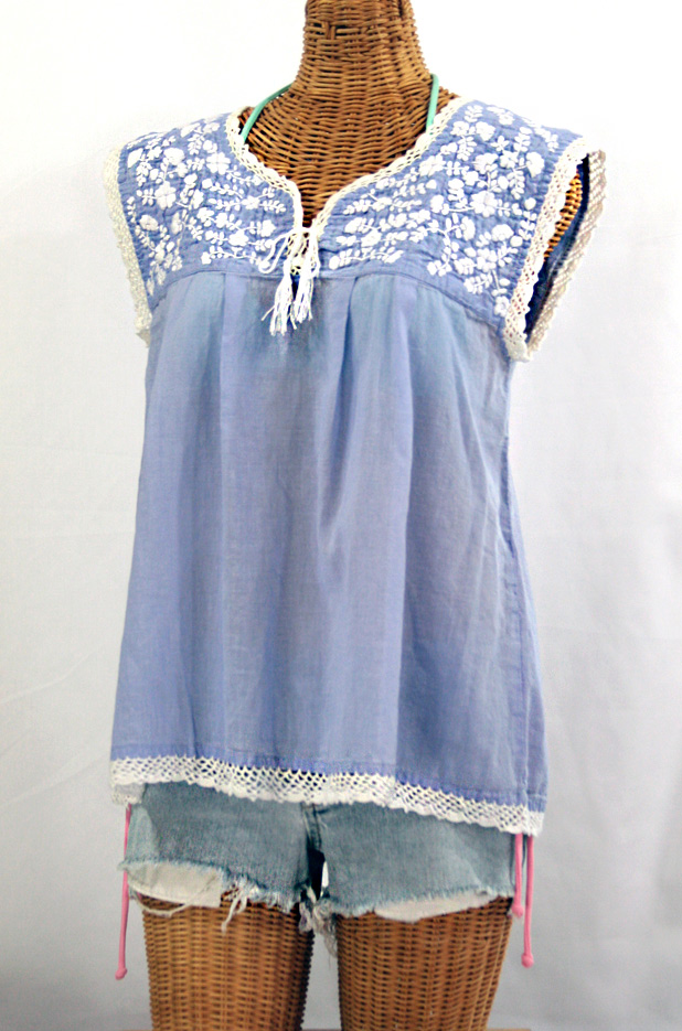 """""""La Marbrisa"""" Embroidered Sleeveless Peasant Blouse Top -Periwinkle + White"""