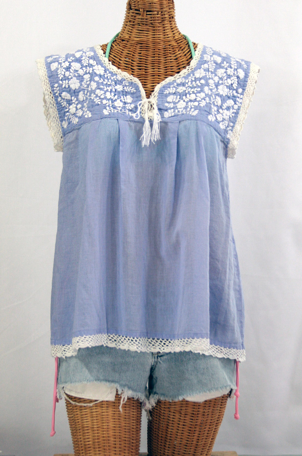 """La Marbrisa"" Embroidered Sleeveless Peasant Blouse Top -Periwinkle + White"