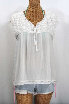 """La Marbrisa"" Sleeveless Mexican Blouse - All White"