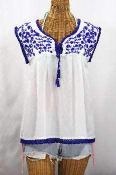 """La Marbrisa"" Sleeveless Mexican Blouse - White + Blue"