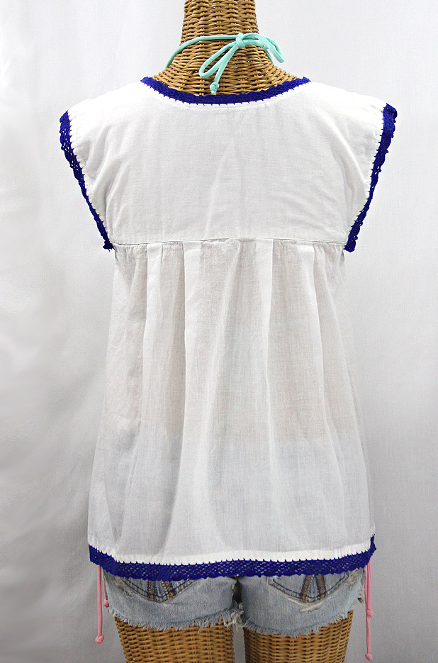 """La Marbrisa"" Sleeveless Mexican Blouse - White + Blue"