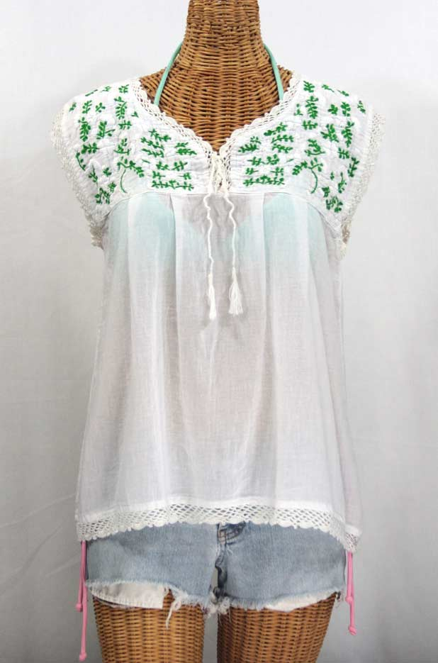 """La Marbrisa"" Sleeveless Mexican Blouse -White + White and Green"