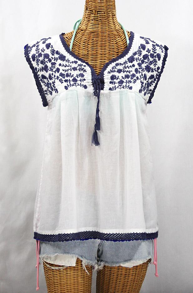 """La Marbrisa"" Sleeveless Mexican Blouse - White + Navy Blue"