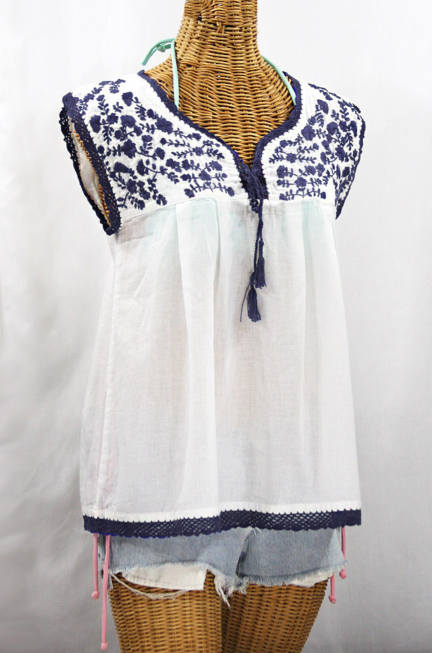 """La Marbrisa"" Sleeveless Mexican Blouse - White + Navy Blue"
