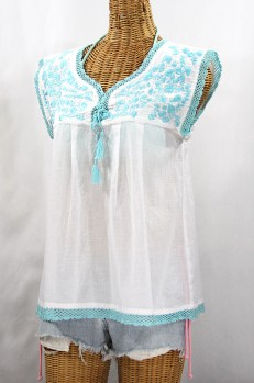 """La Marbrisa"" Sleeveless Mexican Blouse - White + Neon Blue"