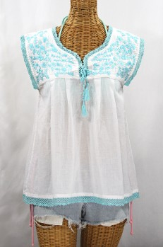 """La Marbrisa"" Sleeveless Mexican Blouse - White + Neon Blue"