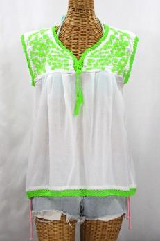 """La Marbrisa"" Sleeveless Mexican Blouse - White + Neon Green"