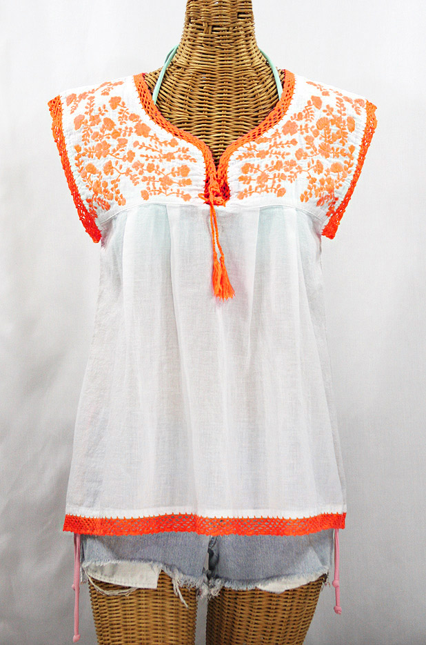"""La Marbrisa"" Sleeveless Mexican Blouse - White + Neon Orange"