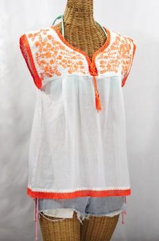 """""""La Marbrisa"""" Sleeveless Mexican Blouse - White + Neon Orange"""