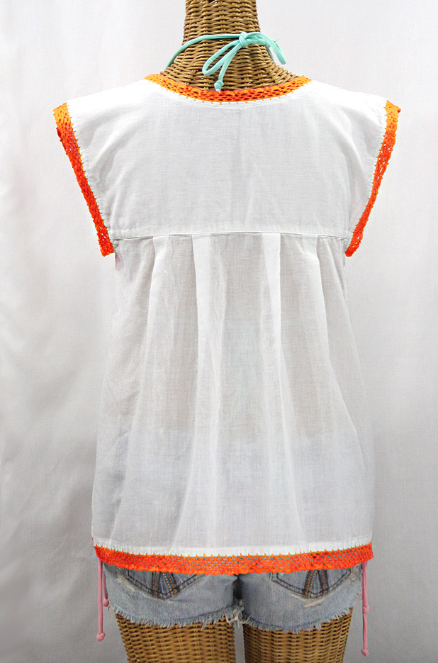 "Final Sale 40% Off -- ""La Marbrisa"" Sleeveless Mexican Blouse - White + Neon Orange"