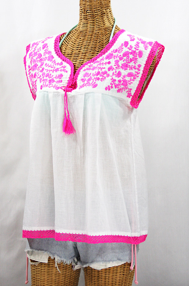"""La Marbrisa"" Sleeveless Mexican Blouse - White + Neon Pink"
