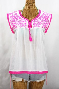 """Final Sale 40% Off -- """"La Marbrisa"""" Sleeveless Mexican Blouse - White + Neon Pink"""