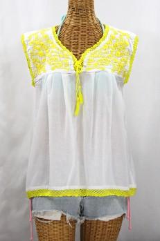 "Final Sale 40% Off -- ""La Marbrisa"" Sleeveless Mexican Blouse - White + Neon Yellow"