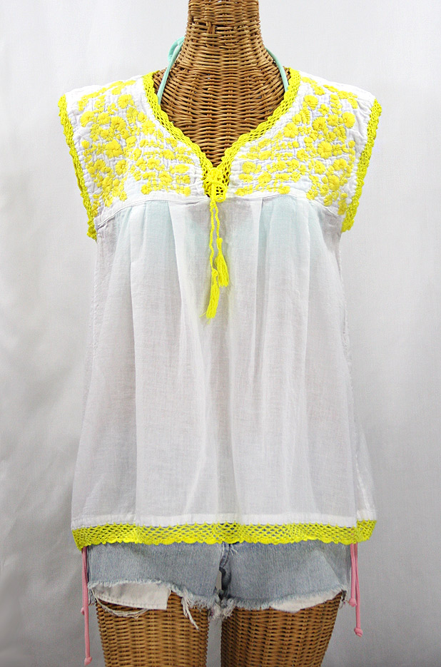 """La Marbrisa"" Sleeveless Mexican Blouse - White + Neon Yellow"