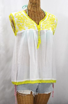 "Final Sale 40% Off -- ""La Marbrisa"" Sleeveless Mexican Blouse - White + Neon Yellow"