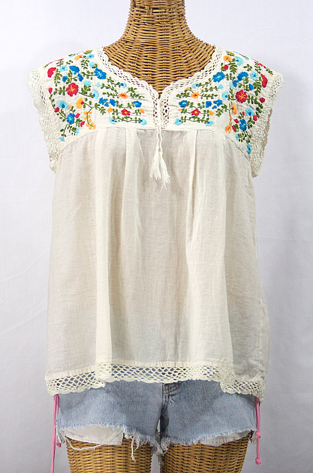 """La Marbrisa"" Embroidered Sleeveless Peasant Blouse Top -Off White + Fiesta"