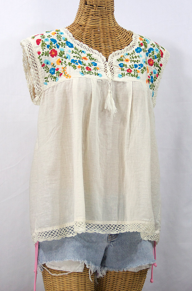 """""""La Marbrisa"""" Embroidered Sleeveless Peasant Blouse Top -Off White + Fiesta"""