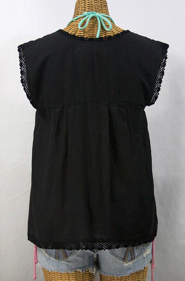 """La Marbrisa"" Embroidered Sleeveless Peasant Blouse Top -Black + Fiesta"