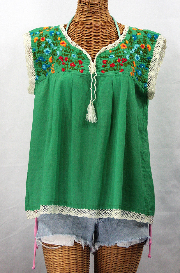 """La Marbrisa"" Embroidered Mexican Style Peasant Blouse Top - Green + Fiesta"