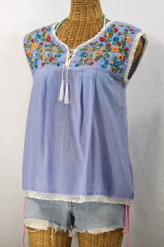"""La Marbrisa"" Embroidered Sleeveless Peasant Blouse Top -Periwinkle + Fiesta"