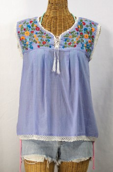 """La Marbrisa"" Embroidered Sleeveless Peasant Blouse Top -Periwinkle + Fiesta"