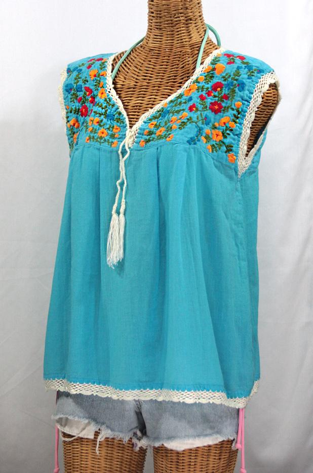 """La Marbrisa"" Sleeveless Mexican Blouse -Aqua + Fiesta"