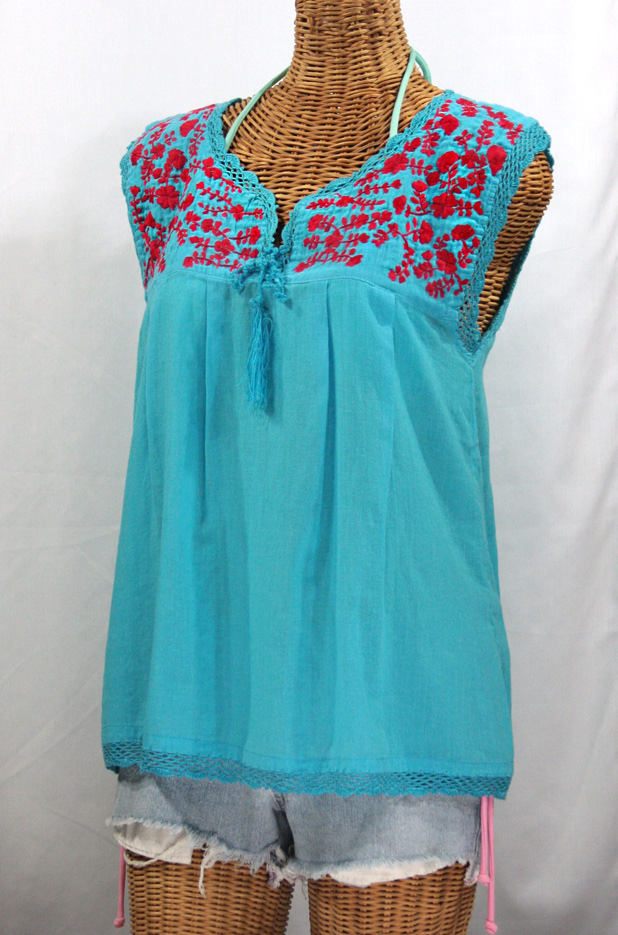 """La Marbrisa"" Sleeveless Mexican Blouse -Aqua + Red"