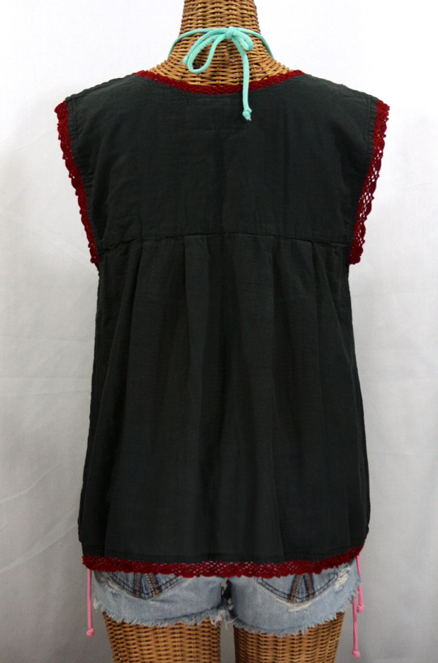 """La Marbrisa"" Sleeveless Mexican Blouse - Charcoal + Maroon Embroidery"