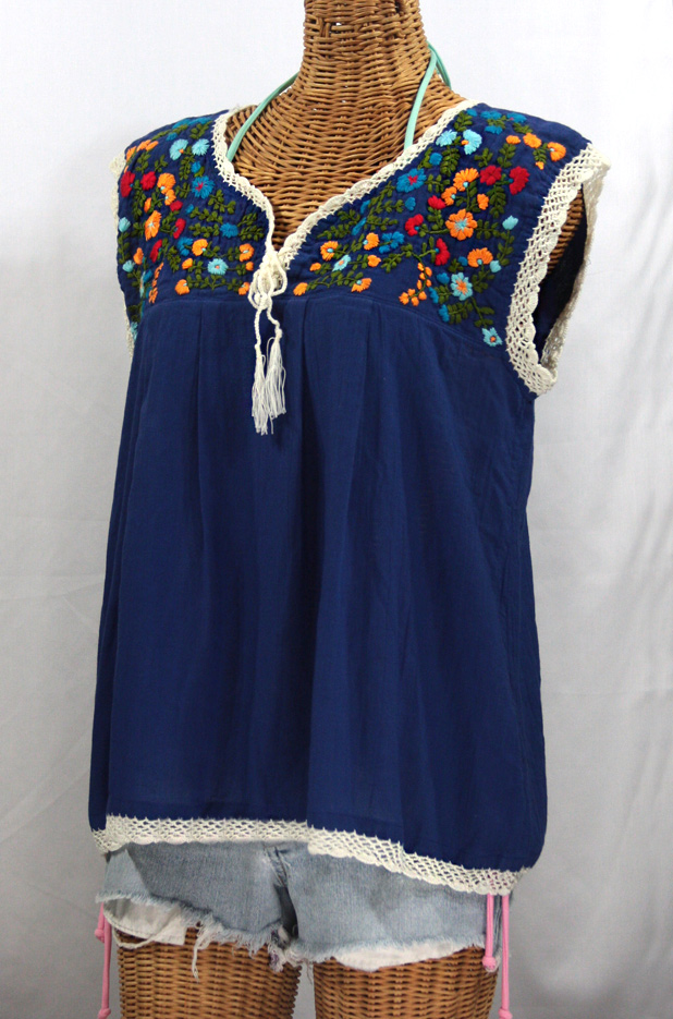 """La Marbrisa"" Sleeveless Mexican Peasant Blouse -Denim Blue + Fiesta"