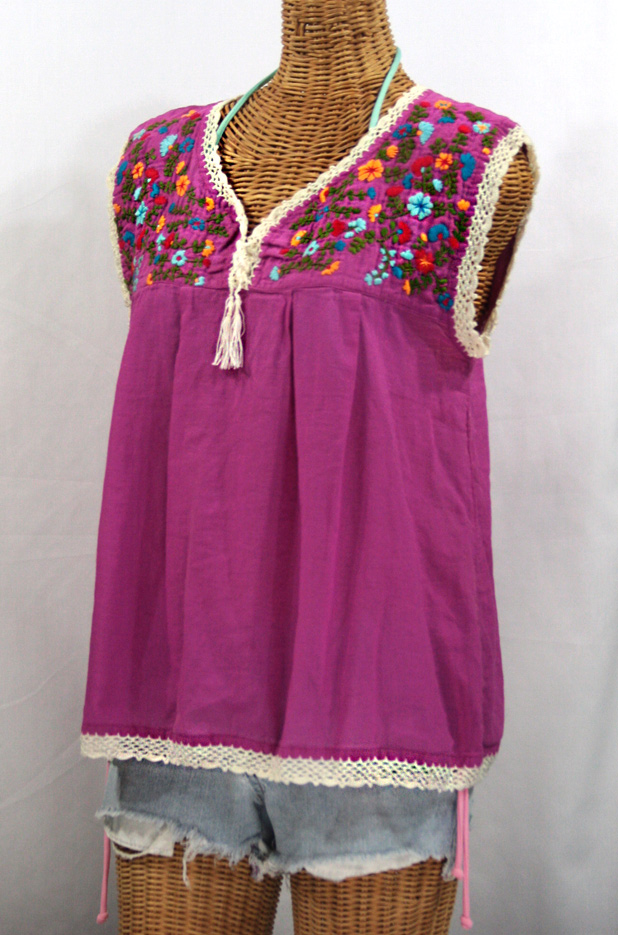 """La Marbrisa"" Sleeveless Mexican Blouse -Fuchsia"