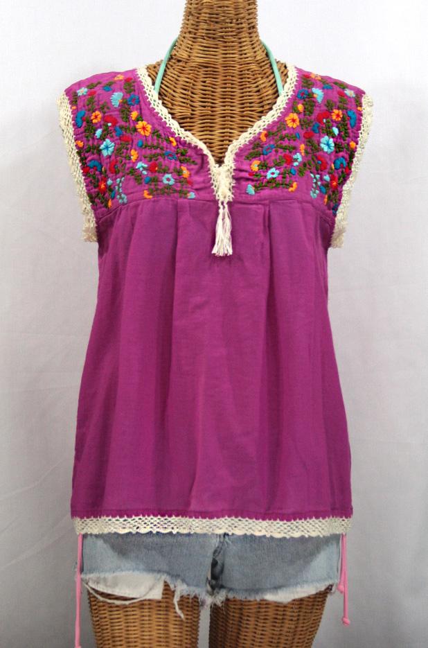 """La Marbrisa"" Sleeveless Mexican Blouse -Fuchsia + Fiesta"