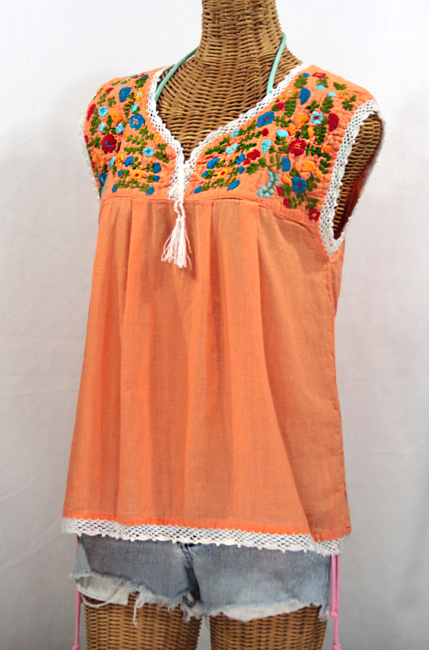 """La Marbrisa"" Sleeveless Mexican Blouse -Orange Cream + Fiesta"