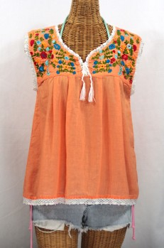 """La Marbrisa"" Sleeveless Mexican Blouse -Orange Cream + Fiesta"