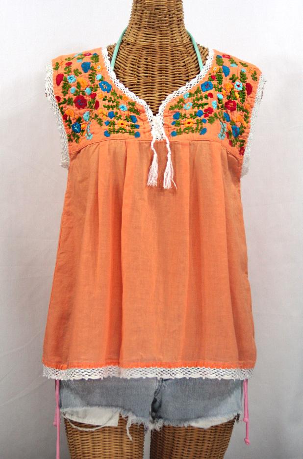 """La Marbrisa"" Sleeveless Mexican Blouse -Orange Cream"