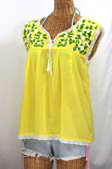 """La Marbrisa"" Sleeveless Mexican Peasant Blouse -Yellow"