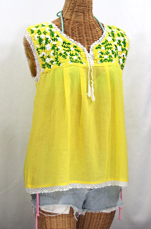 """La Marbrisa"" Sleeveless Mexican Peasant Blouse -Yellow"