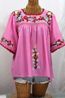 """La Marina"" Embroidered Mexican Peasant Blouse -Bubblegum"