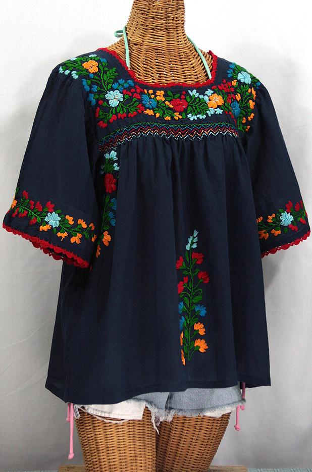 u0026quot la marina u0026quot  embroidered mexican peasant blouse