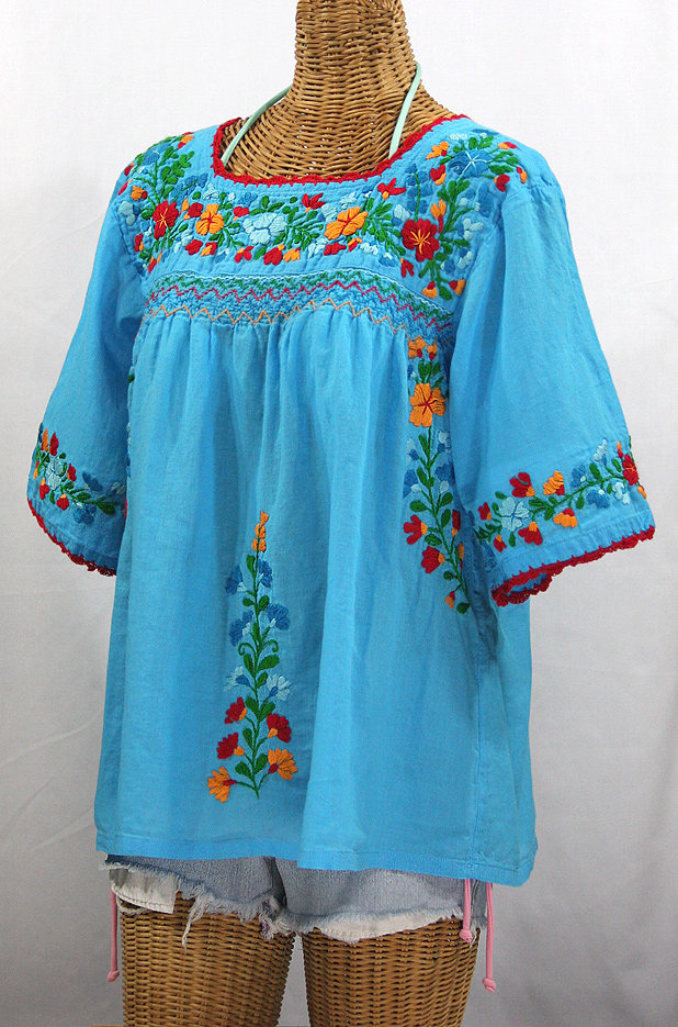 """La Marina"" Embroidered Mexican Peasant Blouse -Aqua + Fiesta"