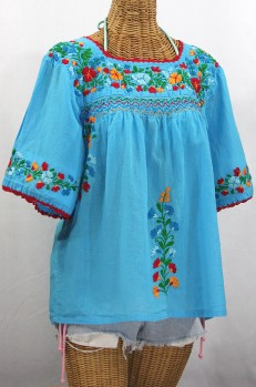 """La Marina"" Embroidered Mexican Peasant Blouse -Aqua + Fiesta"