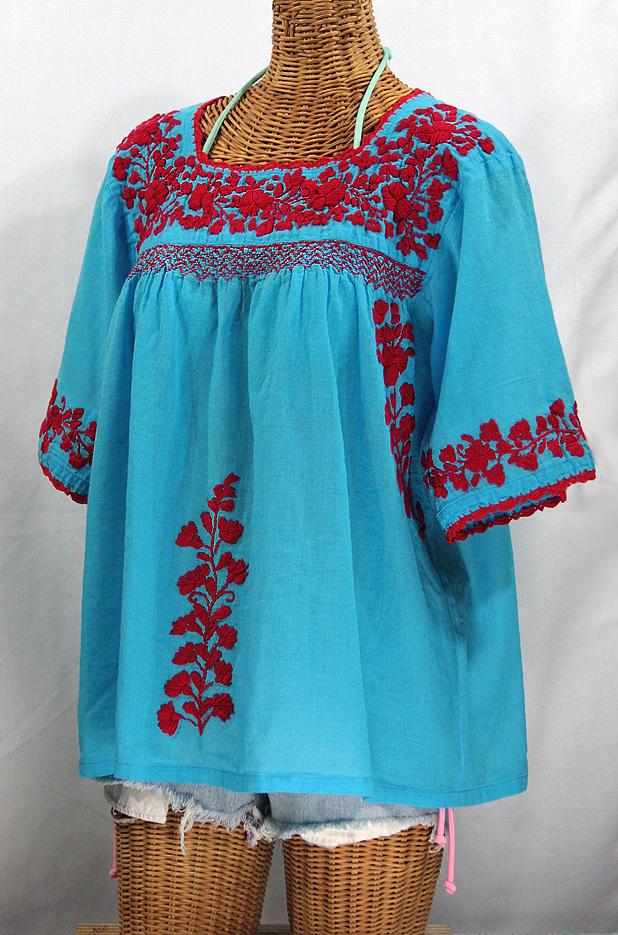 """La Marina"" Embroidered Mexican Blouse -Aqua + Red"