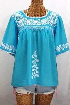 """La Marina"" Embroidered Mexican Peasant Blouse -Aqua + White"
