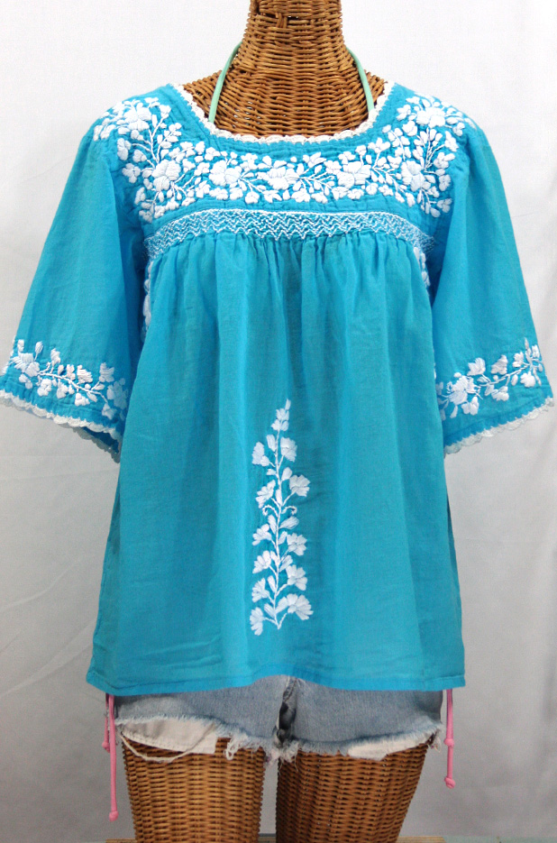 La Marina Embroidered Mexican Peasant Blouse Aqua White
