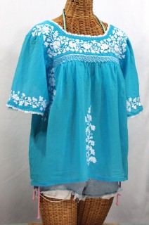 """La Marina"" Embroidered Mexican Peasant Blouse -Aqua + White"