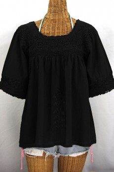 """La Marina"" Embroidered Mexican Peasant Blouse - All Black"