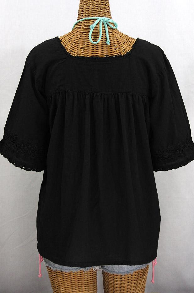 """La Marina"" Embroidered Mexican Peasant Blouse - All Black"